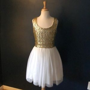 Semi-formal gold sequin and white sleeveless dress